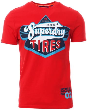 Superdry Beach Red Hertiage Classic T-Shirt  - Click to view a larger image