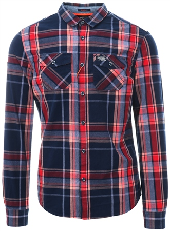 Superdry Amos Red Check Washbasket Shirt  - Click to view a larger image