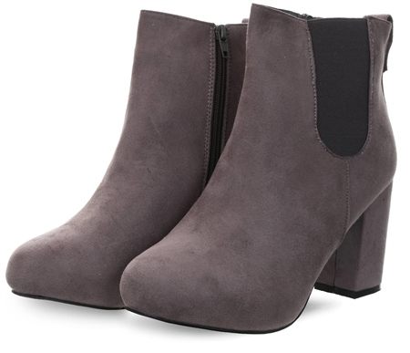 Krush Grey Round Toe Block Heeled Boot  - Click to view a larger image