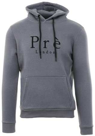 Pre London Carbon Grey Plain Pull Over Hoodie  - Click to view a larger image