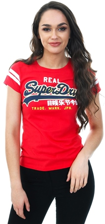 Superdry Royalty Red Vintage Applique T-Shirt  - Click to view a larger image