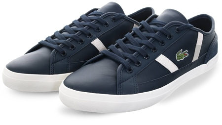 Lacoste Navy/White Sideline Leather Trainer  - Click to view a larger image