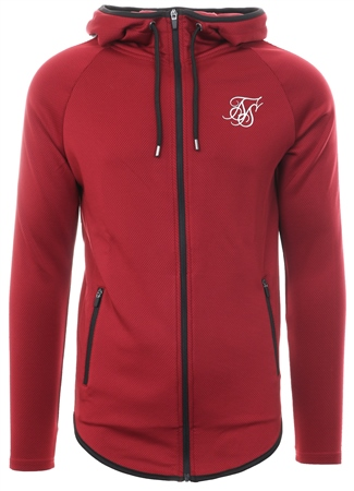 Siksilk Burgundy Athlete Zip Through Hoodie  - Click to view a larger image