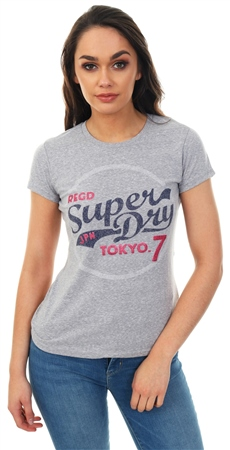 Superdry Grey Snowy Tokyo 7 Glitter Entry T-Shirt  - Click to view a larger image