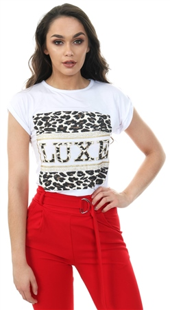 Parisian White Leopard Luxe Print Short Sleeve T Shirt  - Click to view a larger image