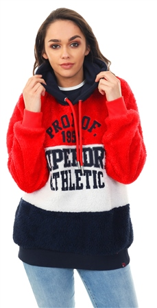 Superdry Cream/Navy/Red Blake Borg Hoodie  - Click to view a larger image
