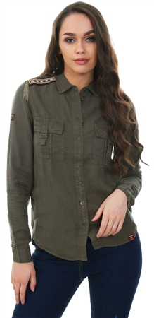 Superdry Khaki Lennox Military Long Sleeve Shirt  - Click to view a larger image