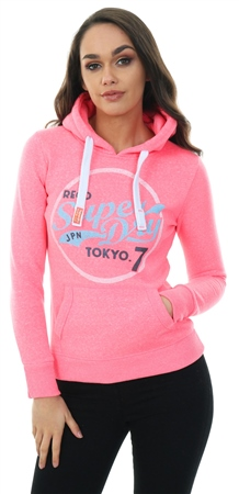 Superdry Fluro Pink Tokyo 7 Glitter Hoodie  - Click to view a larger image