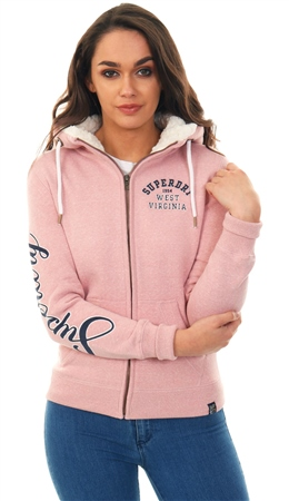 Superdry Sandy Pink Snowy Aria Applique Zip Hoodie  - Click to view a larger image