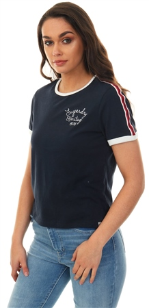 Superdry Eclispe Navy Heritage Embroidery Ringer Boxy T-Shirt  - Click to view a larger image