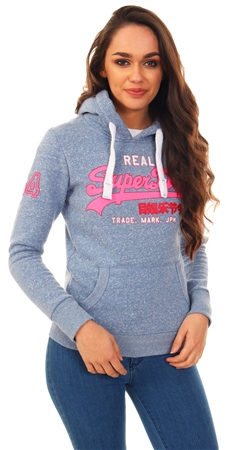 Superdry Blue Snowy Glitter Entry Logo Hoodie  - Click to view a larger image