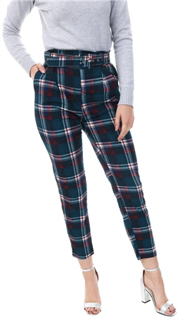 Lexie & Lola Teal Checked Belted Trousers  - Click to view a larger image
