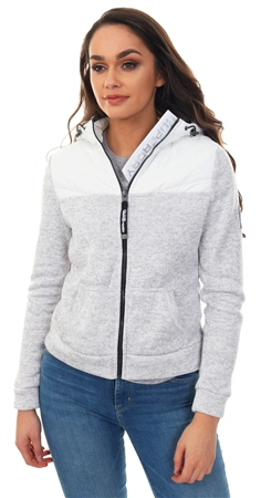 Superdry Grey Marl Storm Half Hybrid Zip Hoodie  - Click to view a larger image