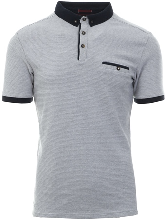 658f04be Kensington White Fine Stripe Button Up Polo T-Shirt | | Shop the latest  fashion online @ DV8