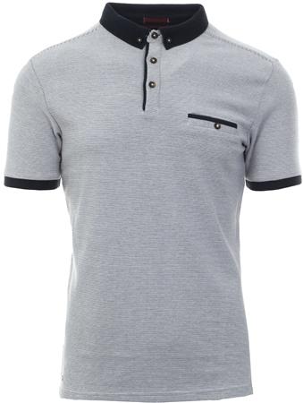 Kensington White Fine Stripe Button Up Polo T-Shirt  - Click to view a larger image