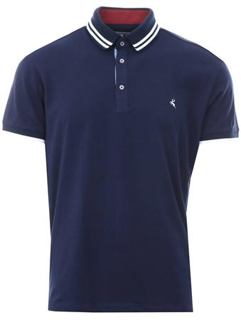 Ottomoda Navy Short Sleeve Button Down Polo Shirt  - Click to view a larger image
