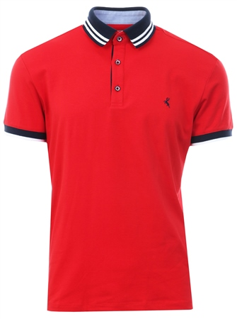 Ottomoda Red Short Sleeve Button Down Polo Shirt  - Click to view a larger image