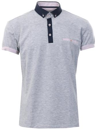 938a52bb Ottomoda Grey Short Sleeve Button Down Polo Shirt - Click to view a larger  image