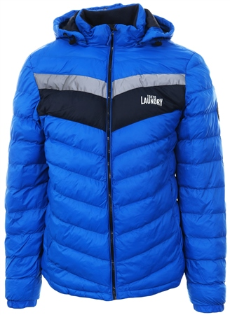 Tokyo Laundry Blue Chervon Zip Up Padded Jacket  - Click to view a larger image