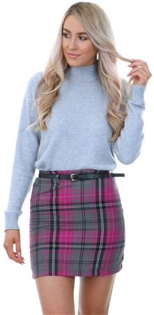 Missi Lond Grey Check Belted Mini Skirt  - Click to view a larger image