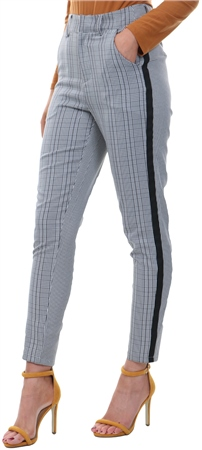Missi Lond Grey Mono Check Printed Trousers  - Click to view a larger image