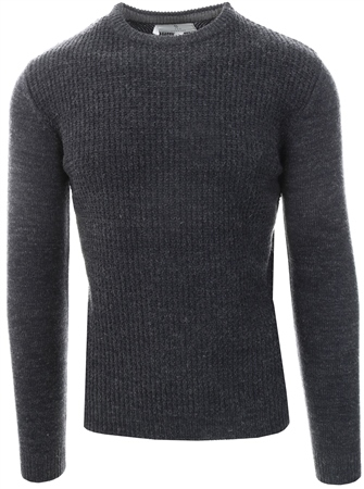 Broken Standard Carbon Marl Crew Long Sleeve Jumper  - Click to view a larger image