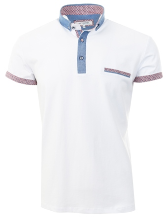 Ottomoda White Short Sleeve Button Down Polo Shirt  - Click to view a larger image