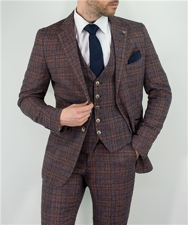 Kaymans Wine Brenden 3 Piece Checked Suit  - Click to view a larger image