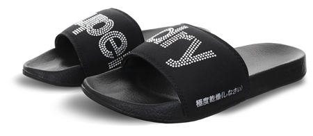 Superdry Black/Silver Diamante Pool Sliders  - Click to view a larger image
