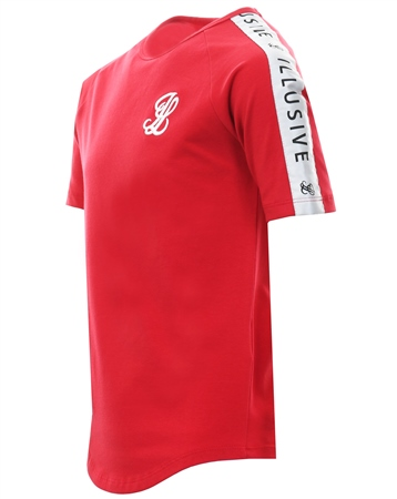 Illusive London Red Short Sleeve Taped Logo T-Shirt  - Click to view a larger image
