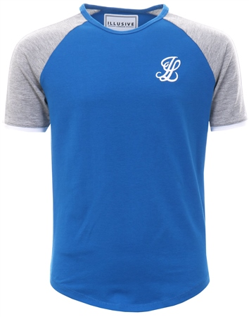 Illusive London Blue Contrast Panel Short Sleeve T-Shirt  - Click to view a larger image