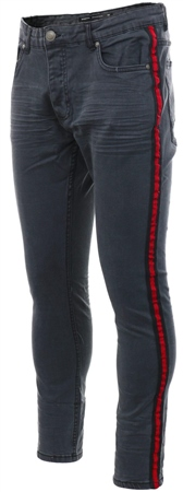 Brave Soul Charcoal Side Tape Skinny Jeans  - Click to view a larger image