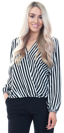 Ax Paris Black V Neck Stripped Dipped Hem Top  - Click to view a larger image