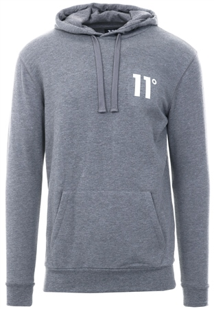 11 Degrees Core Pull Over Hoodie in Charcoal Marl Grey