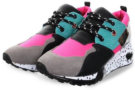 Steve Madden Bright Pink Cliff Lace Up Trainer  - Click to view a larger image