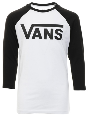 Vans White/Black Classic Raglan Long Sleeve T-Shirt  - Click to view a larger image