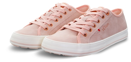 S.Oliver Old Rose Textured Lace Up Trainer  - Click to view a larger image