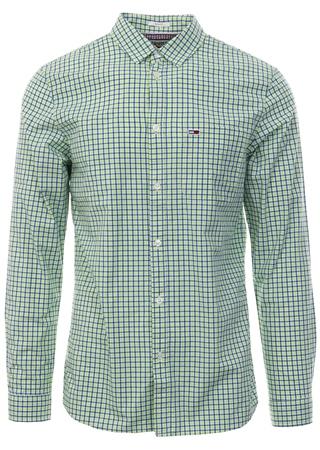 Hilfiger Denim Acid Lime Essential Check Slim Fit Shirt  - Click to view a larger image