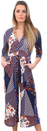 Lexie & Lola Navy Scarf Print Pattern Jumpsuit  - Click to view a larger image