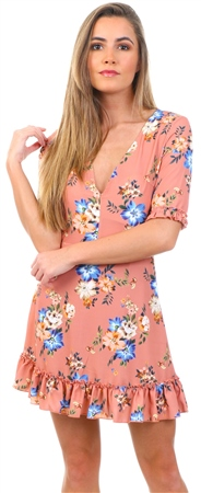 Parisian Pink Floral Frill Detail Short Sleeve Mini Dress  - Click to view a larger image