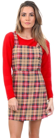 Miss Truth Beige Check Pattern Pinafore Dress  - Click to view a larger image