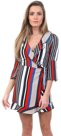 Lexie & Lola Blue/Red Stripe Wrap Front Mini Dress  - Click to view a larger image