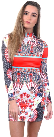 Parisian Multi Scarf Print High Neck Bodycon Mini Dress  - Click to view a larger image