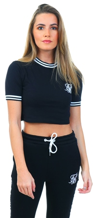 Siksilk Black / White Ringer Crop Tee  - Click to view a larger image
