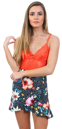 Missi Lond Black Floral Wrap Frill Mini Skirt  - Click to view a larger image