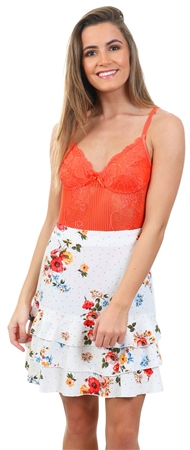 Parisian White Floral Frilled Trim Mini Skirt  - Click to view a larger image