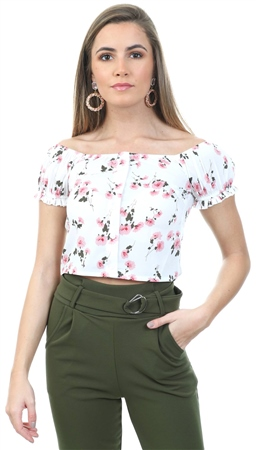 Parisian White Floral Bardot Frill Short Sleeve Top  - Click to view a larger image