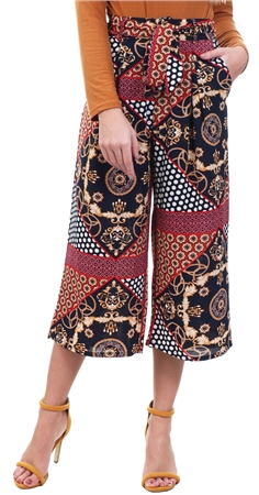 Missi Lond Red Scarf Print Pattern Culottes  - Click to view a larger image
