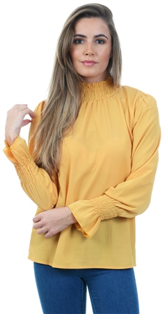 Ax Paris Mustard Frill Neck Long Sleeve Blouse  - Click to view a larger image