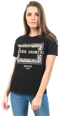 Parisian Black Leopard Broken Promise T Shirt  - Click to view a larger image